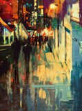 Colorful alley at night,digital painting Stock Images