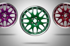 Colorful alloy rims Stock Images
