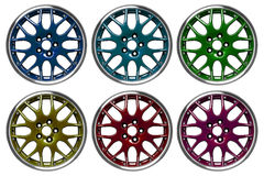Colorful alloy rims Royalty Free Stock Photography