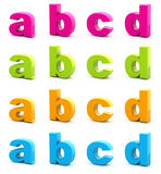 Colorful alphabet. Set of 3d letters isolated on white. Part 1 of 6 Stock Image