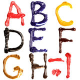 Colorful alphabet. Colorful oil painted alphabet, Letters A - I Royalty Free Stock Photo