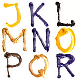 Colorful alphabet. Colorful oil painted alphabet, Letters J - R Stock Photos