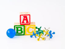 Colorful Alphabet Blocks ABC and Jacks Stock Image