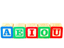 Colorful Alphabet Blocks With All Vowels royalty free stock photo