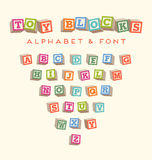 Colorful alphabet blocks baby blocks font Stock Photography