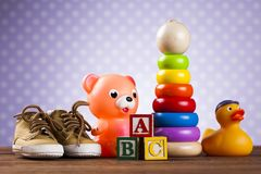 Colorful alphabet blocks, baby toy stock photography