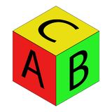 Colorful alphabet cubes with A,B,C letters. Isolated vector illustration on white background. Royalty Free Stock Photo