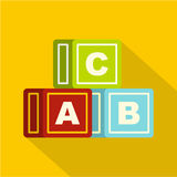 Colorful alphabet cubes icon, flat style Royalty Free Stock Images