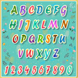 Colorful Alphabet with floral background Stock Image