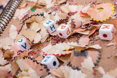 Colorful letter cubes on pencil trash. Colorful alphabet letter cubes on pencil trash Stock Image