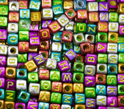 Colorful alphabet letter cubes. In view Royalty Free Stock Photos