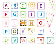 Colorful alphabet letters. Colorful and artistic alphabet letters with different borders and ornaments Stock Image