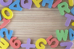 Colorful alphabet letters and numbers Royalty Free Stock Images