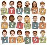 Colorful alphabet letters S - Z and numbers. With cute hand drawn faces Royalty Free Stock Photos