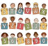 Colorful alphabet letters S - Z and numbers. With cute hand drawn kids Stock Image