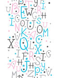 Colorful alphabet letters vertical border seamless Royalty Free Stock Images