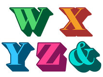 Colorful alphabet letters W, X, Y, Z, ampersand Stock Photo