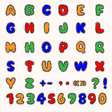 Colorful alphabet and numbers Stock Photos