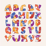 Colorful alphabet set with hand drawn letters sequence from A to Z on beige background. Vector collection hand written in bright c Stock Photo