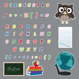 Colorful Alphabet Stickers. Colorful alphabet letters stickers/Colorful alphabet and various icons (owl,globe,chalkboard,books,notepad)stickers Royalty Free Stock Images