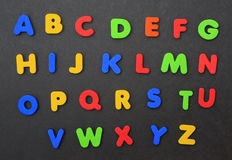 Colorful Alphabet A thru Z. Isolated on black background Royalty Free Stock Photo