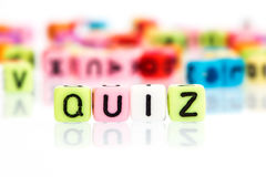 Colorful alphabet  word cube of  QUIZ. On white Stock Image