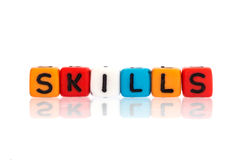 The colorful alphabet  word cube of  SKILLS. Colorful alphabet  word cube of  SKILLS Stock Images