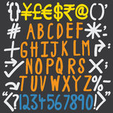 Colorful alphabets, numbers and special characters Royalty Free Stock Photography