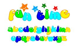 Fun colorful stylized font stock illustration