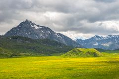 Colorful alpine landscape with dramatic sky Royalty Free Stock Photography