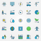 Colorful alternative energy icons Royalty Free Stock Photography