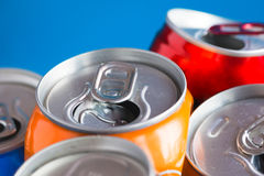 Colorful Aluminum can, recycled doses. Isolated stock photo
