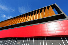Colorful aluminum facade on large shopping mall Royalty Free Stock Photo