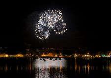 Colorful amazing fireworks close up with reflection on a water and the place for text, Malta fireworks festival. Happy new Year. F royalty free stock photos