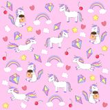 Colorful, amazing pattern with unicorns. Vector pattern for kids.