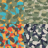 Colorful America urban camouflage. Set of USA shape camo seamless pattern. Vector fabric textile. Military print design. Set of USA shape camo seamless pattern Royalty Free Stock Photography