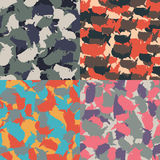 Colorful America urban camouflage. Set of USA shape camo seamless pattern. Vector fabric textile. Military print design. Set of USA shape camo seamless pattern Royalty Free Stock Photo