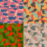 Colorful America urban camouflage. Set of USA shape camo seamless pattern. Vector fabric textile. Military print design. Set of USA shape camo seamless pattern Stock Photo