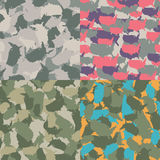 Colorful America urban camouflage. Set of USA shape camo seamless pattern. Vector fabric textile. Military print design. Set of USA shape camo seamless pattern Royalty Free Stock Image