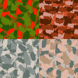 Colorful America urban camouflage. Set of USA shape camo seamless pattern. Vector fabric textile. Military print design. Set of USA shape camo seamless pattern Stock Images
