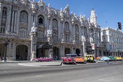 Colorful classic cars in front of Gran Teatro, Havana, Cuba Stock Photos