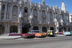 Colorful vintage classic cars in front of Grand Theatre Havana, Cuba Stock Image