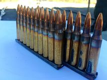 The 5.56×45mm ammo. The colorful of ammo 5.56 mm Stock Photos