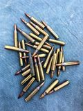 The 5.56×45mm ammo. The colorful of ammo 5.56 mm Royalty Free Stock Photography