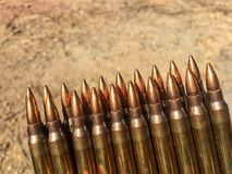 The 5.56×45mm ammo. The colorful of ammo 5.56 mm Royalty Free Stock Images