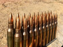 The 5.56×45mm ammo. The colorful of ammo 5.56 mm Stock Photography