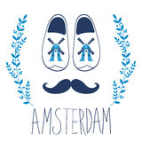 Colorful Amsterdam composition with shoes and Royalty Free Stock Images