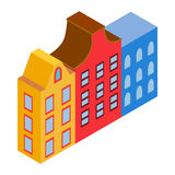 Colorful Amsterdam houses icon, isometric 3d style Royalty Free Stock Photography