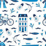 Colorful Amsterdam icons seamless pattern Stock Photo