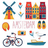 Colorful Amsterdam set Stock Image